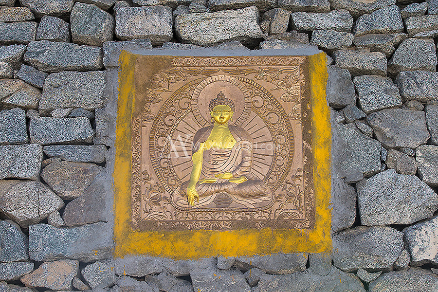 There's a lot of beautiful Buddhist artwork to be found in Ladakh.  This gold relief was near the Shanti Stupa in Leh.