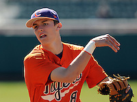 Infielder Richie Shaffer (8) of the Clemson Tigers prior to a game against the Wright State Raiders Saturday, Feb. 27, 2011, at Doug Kingsmore Stadium in Clemson, S.C. Shaffer is ranked No. 30 on Baseball America's list of top college freshmen prospects. Photo by: Tom Priddy/Four Seam Images