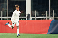FOXBOROUGH, MA - OCTOBER 09: Felipe Valencia #28 of Fort Lauderdale CF celebrates his goal against the New England Revolution during a game between Fort Lauderdale CF and New England Revolution II at Gillette Stadium on October 09, 2020 in Foxborough, Massachusetts.