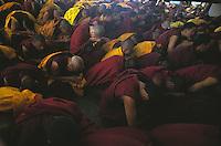 Monks in prayer at the Dalai Lama's techings.