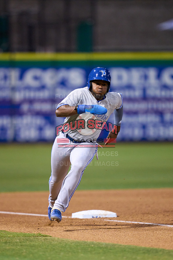 Dunedin Blue Jays Miguel Hiraldo (5) rounds third base during a game against the Clearwater Threshers on May 18, 2021 at BayCare Ballpark in Clearwater, Florida.  (Mike Janes/Four Seam Images)