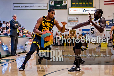 16 March 2019: UMBC Retriever Guard Ricky Council II, a Junior from Durham, NC, in first half action against the University of Vermont Catamounts, in the America East Championship Game at Patrick Gymnasium in Burlington, Vermont. The Catamounts defeated the Retrievers 66-49 to take the AE Championship for the 2018/2019 NCAA Men's Basketball season. Mandatory Credit: Ed Wolfstein Photo *** RAW (NEF) Image File Available ***