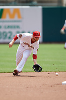 Memphis Redbirds second baseman Bruce Caldwell fields a ground ball during a game against the Iowa Cubs on May 29, 2017 at AutoZone Park in Memphis, Tennessee.  Memphis defeated Iowa 6-5.  (Mike Janes/Four Seam Images)
