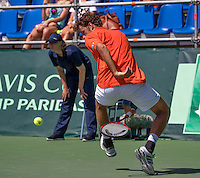 Moscow, Russia, 17 th July, 2016, Tennis,  Davis Cup Russia-Netherlands, Robin Haase (NED) does a tweener<br /> Photo: Henk Koster/tennisimages.com