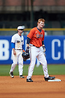 Pavin Smith (10) of the Virginia Cavaliers stands on second base against the Duke Blue Devils in Game Seven of the 2017 ACC Baseball Championship at Louisville Slugger Field on May 25, 2017 in Louisville, Kentucky. The Blue Devils defeated the Cavaliers 4-3. (Brian Westerholt/Four Seam Images)