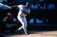 SAN FRANCISCO, CA:  Tony Gwynn of the San Diego Padres bats during a game against the San Francisco Giants at Pacific Bell Park in San Francisco, California in 2001. (Photo by Brad Mangin)