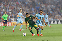ST PAUL, MN - JULY 24: Renzo Zambrano #40 of the Portland Timbers during a game between Portland Timbers and Minnesota United FC at Allianz Field on July 24, 2021 in St Paul, Minnesota.