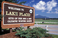 AJ0550, Lake Placid, Adirondack Park, Adirondacks, New York, Welcome to Lake Placid sign. Site of the 1932 and 1980 Olympic Winter Games in the state of New York.