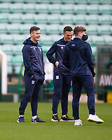15th November 2020; Easter Road, Edinburgh, Scotland; Scottish League Cup Football, Hibernian versus Dundee FC; Danny Mullen, Jordan Marshall and Finlay Robertson of Dundee inspect the pitch before the match