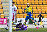 St Johnstone v Brechin City…10.10.20   McDiarmid Park  Betfred Cup<br />Stevie May scores his third goal<br />Picture by Graeme Hart.<br />Copyright Perthshire Picture Agency<br />Tel: 01738 623350  Mobile: 07990 594431