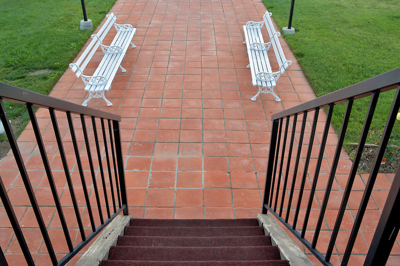 Mission de Oro showing plaza and benches. Santa Nella. California