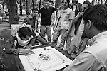 Afghan men play board games in Shar-I Now park, 31 August 2012. (John D McHugh)