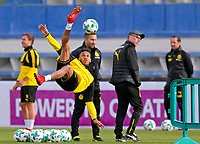 07.01.2018,  Football 1.Liga 2017/2018,  trainings camp of  Borussia Dortmund in Marbella in spain, Vormitdays-Training team Estadio Municipal de Marbella, Pierre-Emerick Aubameyang (li, Dortmund) , Trainer Peter Stoeger (Dortmund) *** Local Caption *** © pixathlon<br /> <br /> +++ NED + SUI out !!! +++<br /> Contact: +49-40-22 63 02 60 , info@pixathlon.de