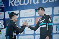 on the podium teammates Michal Kwiatkowski (1st/POL/SKY) & Ian Stannard (3rd/GBR/Sky) congratulate each other<br /> <br /> E3 - Harelbeke 2016