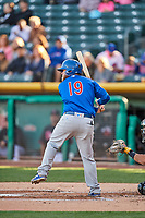 Taylor Davis (19) of the Iowa Cubs bats against the Salt Lake Bees in Pacific Coast League action at Smith's Ballpark on May 13, 2017 in Salt Lake City, Utah. Salt Lake defeated Iowa  5-4. (Stephen Smith/Four Seam Images)