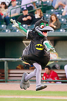 "Great Lakes Loons mascot ""Lou E. Loon"" is dressed as Batman for ""Super Heroes Night"" at the Dow Diamond during the Midwest League game against the Wisconsin Timber Rattlers on May 4, 2013 in Midland, Michigan.  The Timber Rattlers defeated the Loons 6-4.  (Brian Westerholt/Four Seam Images)"