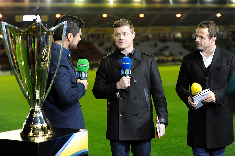 BT Sport presenters Craig Doyle, Brian O'Driscoll and Austin Healey during the European Rugby Champions Cup  Round 1 match between Harlequins and Castres Olympique at the Twickenham Stoop on Friday 17th October 2014 (Photo by Rob Munro)