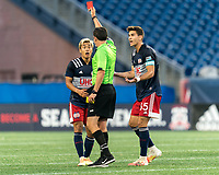 FOXBOROUGH, MA - AUGUST 7: Second yellow, red card ejection of Ryo Shimazaki #31 of New England Revolution II from Ernie Constantine as Collin Verfurth #35 of New England Revolution II questions the call during a game between Orlando City B and New England Revolution II at Gillette Stadium on August 7, 2020 in Foxborough, Massachusetts.