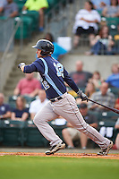 Corpus Christi Hooks first baseman Conrad Gregor (12) at bat during a game against the Arkansas Travelers on May 29, 2015 at Dickey-Stephens Park in Little Rock, Arkansas.  Corpus Christi defeated Arkansas 4-0 in a rain shortened game.  (Mike Janes/Four Seam Images)