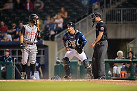 Northwest Arkansas Naturals catcher Nate Esposito (7) covers a loose ball during a Texas League game between the Northwest Arkansas Naturals and the Arkansas Travelers on May 30, 2019 at Arvest Ballpark in Springdale, Arkansas. (Jason Ivester/Four Seam Images)