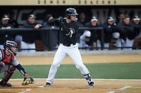 Brendan Tinsman (9) of the Wake Forest Demon Deacons at bat against the Illinois Fighting Illini at David F. Couch Ballpark on February 16, 2019 in  Winston-Salem, North Carolina.  The Fighting Illini defeated the Demon Deacons 5-2. (Brian Westerholt/Four Seam Images)