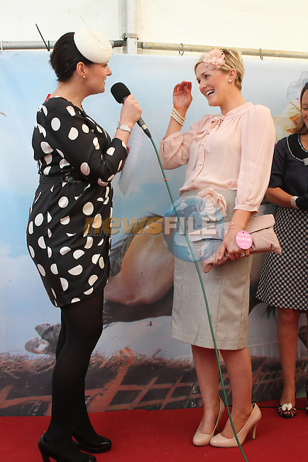 Best Dressed Lady Competition Judge Triona McCarthy with Winner Wendy McKay Wogan from Drogheda at the Bellewstown Races..Picture Jenny Matthews/Newsfile.ie