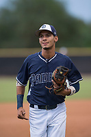AZL Padres 2 shortstop Tucupita Marcano (1) jogs off the field between innings of an Arizona League game against the AZL Padres 1 at Peoria Sports Complex on July 14, 2018 in Peoria, Arizona. The AZL Padres 1 defeated the AZL Padres 2 4-0. (Zachary Lucy/Four Seam Images)