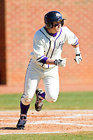 Devin Bujnovsky #6 of the High Point Panthers hustles down the first base line against the Dayton Flyers at Willard Stadium on February 26, 2012 in High Point, North Carolina.    (Brian Westerholt / Four Seam Images)