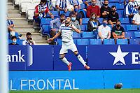 22nd September 2021: RCDE Stadium, Barcelona, Spain: La Liga Football, Espanyol versus Atletico Madrid; <br /> Luis Rioja of Deportivo Alaves tries to bring down a high pass