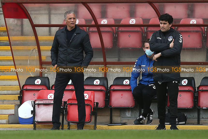 Oldham Athletic manager Keith Curle (L) during Leyton Orient vs Oldham Athletic, Sky Bet EFL League 2 Football at The Breyer Group Stadium on 27th March 2021