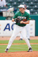 Starting pitcher Chris Hernandez #27 of the Miami Hurricanes in action against the Boston College Eagles at the 2010 ACC Baseball Tournament at NewBridge Bank Park May 27, 2010, in Greensboro, North Carolina.  The Eagles defeated the Hurricanes 12-10 in 10 innings.  Photo by Brian Westerholt / Four Seam Images