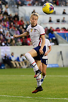 HARRISON, NJ - MARCH 08: Emily Sonnett #14 of the United States goes up for a header during a game between Spain and USWNT at Red Bull Arena on March 08, 2020 in Harrison, New Jersey.