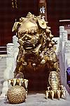 Gold Lion Statue at Forbidden City