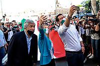 Antonio Tajani, Giorgia Meloni and Matteo Salvini<br /> Roma June 2nd 2020. Italy, Piazza del Popolo. Demonstration of the right parties Lega Nord per Salvini, Fratelli d'Italia and Forza Italia against the government in occasion of the anniversary of the Republic. The protesters have exposed a huge Italian flag.<br /> Photo Samantha Zucchi Insidefoto