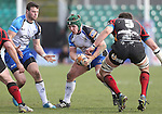 Connacht hooker Jason Harris-Wright looks for a gap in the Dragons defence.<br /> RaboPro 12<br /> Newport Gwent Dragons v Connacht<br /> Rodney Parade<br /> 23.03.14<br /> <br /> ©Steve Pope-SPORTINGWALES