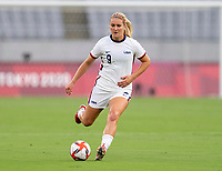 TOKYO, JAPAN - JULY 21: Lindsey Horan #9 of the USWNT dribbles the ball during a game between Sweden and USWNT at Tokyo Stadium on July 21, 2021 in Tokyo, Japan.