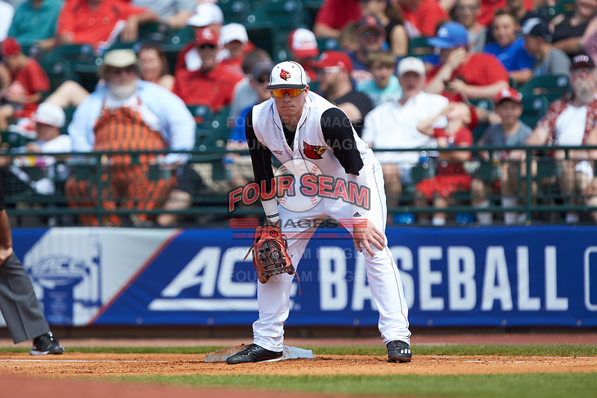 Brendan McKay (38) of the Louisville Cardinals on defense against the Florida State Seminoles in Game Eleven of the 2017 ACC Baseball Championship at Louisville Slugger Field on May 26, 2017 in Louisville, Kentucky. The Seminoles defeated the Cardinals 6-2. (Brian Westerholt/Four Seam Images)