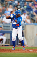 Tulsa Drillers center fielder Johan Mieses (25) at bat during a game against the Corpus Christi Hooks on June 3, 2017 at ONEOK Field in Tulsa, Oklahoma.  Corpus Christi defeated Tulsa 5-3.  (Mike Janes/Four Seam Images)