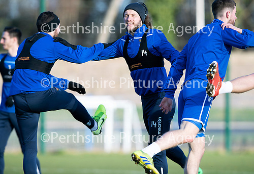 St Johnstone Training…….Stevie May pictured during training at McDiarmid Park with Drey Wright ahead of tomorrow's SPFL fixture against Livingston.<br />Picture by Graeme Hart.<br />Copyright Perthshire Picture Agency<br />Tel: 01738 623350  Mobile: 07990 594431