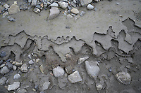 Patterns can be found in the mud along the Sheenjek River, which flows south from Alaska's Brooks Range into the Yukon River Flats, in the Arctic National Wildlife Refuge in late August.