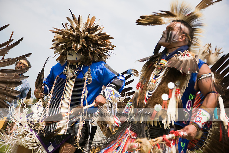 Charles Hankinson (Eagle Tail) (right), a Native American from the Micmac tribe of Canada, and Keith Anderson, his dancing brother (left), dance in full traditional regalia at the 8th Annual Redwing PowWow in Virginia Beach, Virginia.