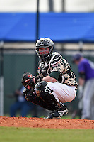 Slippery Rock Alex Bell (14) during a game against the Kentucky Wesleyan Panthers on March 9, 2015 at Jack Russell Stadium in Clearwater, Florida.  Kentucky Wesleyan defeated Slippery Rock 5-4.  (Mike Janes/Four Seam Images)