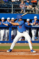 University of Florida Gators designated hitter Nelson Maldonado (27) at bat  during a game against the Siena Saints at Alfred A. McKethan Stadium in Gainesville, Florida on February 17, 2018. Florida defeated Siena 10-2. (Robert Gurganus/Four Seam Images)
