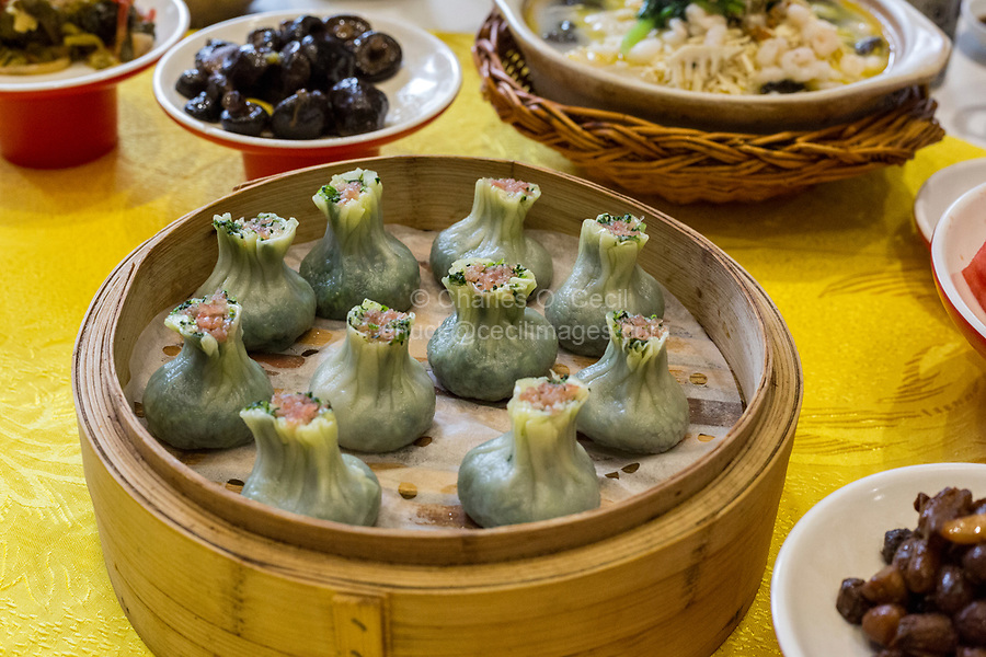 Yangzhou, Jiangsu, China.  Breakfast at Ye Chun Tea House:  Jade Buns.