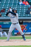 Columbus Clippers catcher Eric Haase (13) during an International League game against the Indianapolis Indians on April 29, 2019 at Victory Field in Indianapolis, Indiana. Indianapolis defeated Columbus 5-3. (Zachary Lucy/Four Seam Images)