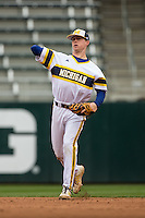 Jacob Cronenworth (2) of the Michigan Wolverines throws during a 2015 Big Ten Conference Tournament game between the Michigan Wolverines and Indiana Hoosiers at Target Field on May 20, 2015 in Minneapolis, Minnesota. (Brace Hemmelgarn/Four Seam Images)