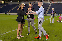 Chicago, IL - Saturday July 30, 2016: Lori Chalupny, Alyse LaHue after a regular season National Women's Soccer League (NWSL) match between the Chicago Red Stars and FC Kansas City at Toyota Park.