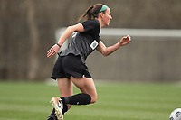 LOUISVILLE, KY - MARCH 13: Erin Simon #3 of Racing Louisville FC runs the ball up the field during a game between West Virginia University and Racing Louisville FC at Thurman Hutchins Park on March 13, 2021 in Louisville, Kentucky.