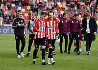 22nd May 2021; Brentford Community Stadium, London, England; English Football League Championship Football, Playoff, Brentford FC versus Bournemouth; Sergi Canos and Mathias Jensen of Brentford doing a walk around the pitch after full time