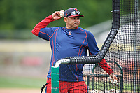 Salem Red Sox hitting coach Nelson Paulino (35) during practice before the first game of a doubleheader against the Potomac Nationals on May 13, 2017 at G. Richard Pfitzner Stadium in Woodbridge, Virginia.  Potomac defeated Salem 6-0.  (Mike Janes/Four Seam Images)